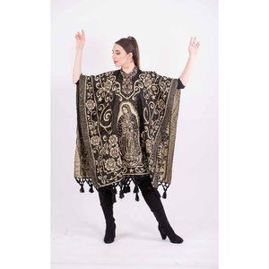 Mexican Our Lady of Guadalupe Poncho Beige Black